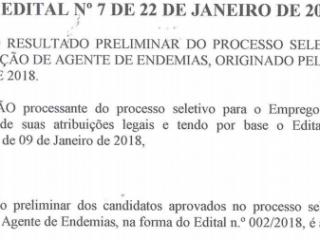 Resultado preliminar do processo seletivo para contratação de agente de endemias