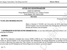 Lagoa dos Três Cantos passa a integrar a circunscrição da Delegacia de Polícia de Tapera
