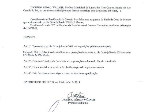 COMUNICADO – ADMINISTRAÇÃO MUNICIPAL FARÁ TURNO ÚNICO NESTA SEXTA-FEIRA