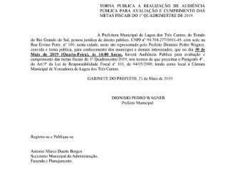 Município realizará Audiência Pública para avaliação e cumprimento das Metas Fiscais do 1º Quadrimestre de 2019
