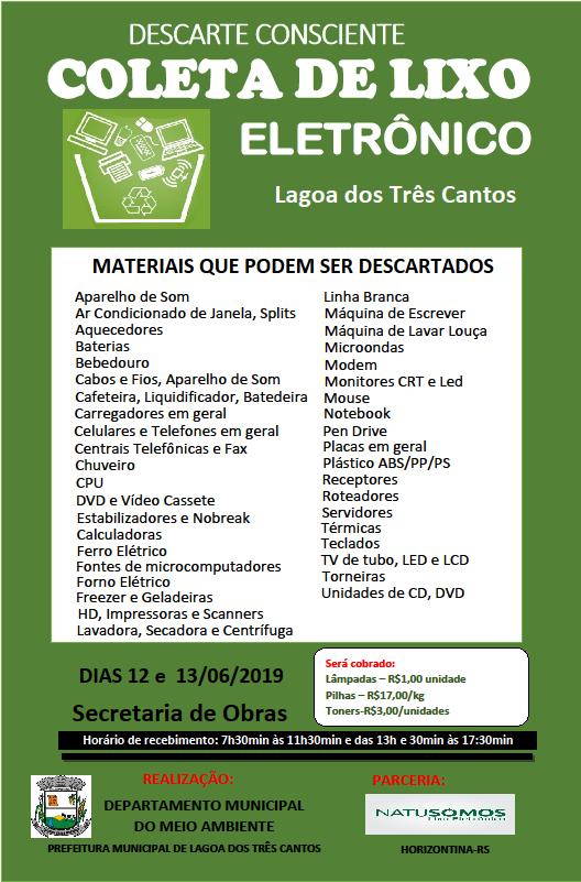 Campanha para Coleta de Lixo Eletrônico será dias 12 e 13 de Junho.
