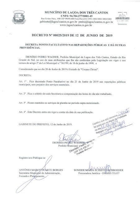 PONTO FACULTATIVO NAS REPARTIÇÕES PÚBLICAS DE LAGOA DOS TRÊS CANTOS