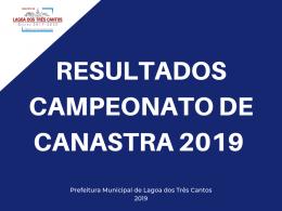 CAMPEONATO MUNICIPAL CANASTRA FEMININA EDIÇÃO 2019 – RESULTADO DA 2ª RODADA FEMININA