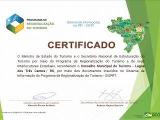Lagoa dos Três Cantos recebe certificados do Ministério do Turismo.