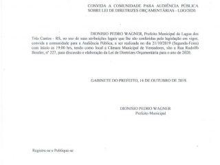 CONVITE PARA AUDIÊNCIA PÚBLICA SOBRE LEI DE DIRETRIZES ORÇAMENTÁRIAS