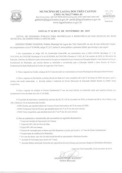 MATRÍCULAS E REMATRÍCULAS NAS ESCOLAS DA REDE MUNICIPAL DE ENSINO