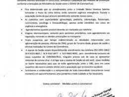NOTA DA SECRETÁRIA MUNICIPAL DE SAÚDE DE LAGOA DOS TRÊS CANTOS