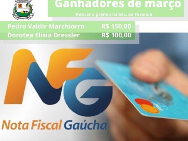 Ganhadores de mês de março do Nota Fiscal Gaúcha