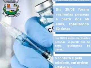 Até o momento foram aplicadas 374 vacinas entre primeira e segunda doses contra Covid em Lagoa dos Três Cantos