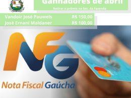 Ganhadores do mês de abril do Nota Fiscal Gaúcha