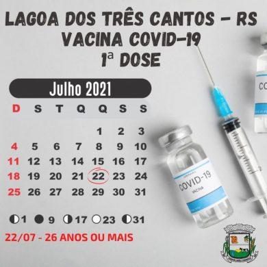 Quinta-feira (22) é dia de vacinação 1ª dose