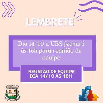Dia 14 de outubro a UBS fechará às 16h